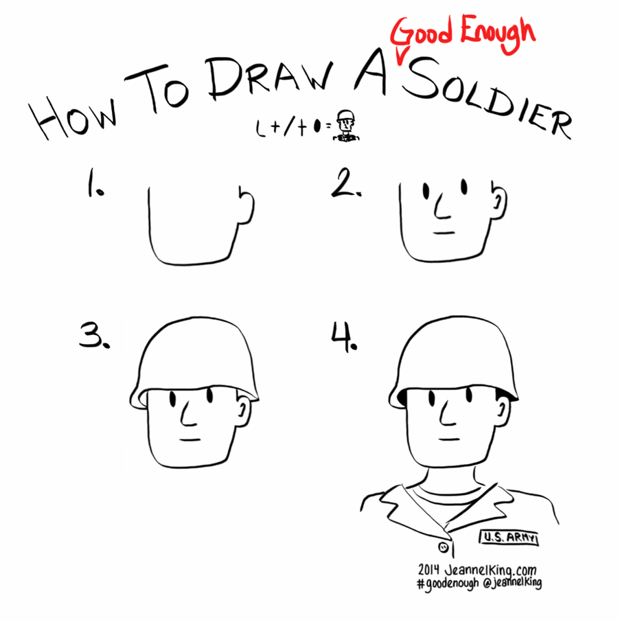 jeannelking.com | How to draw a Good Enough soldier